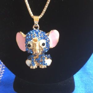 """Jewelry - NWT Blue Pink Elephant Necklace Adorable Chain 27"""""""